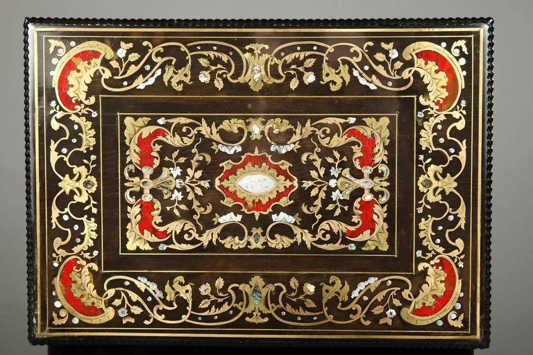 Napoleon III Mid-19th Century Wooden Coffer Inlaid with Mother-of-Pearl For Sale