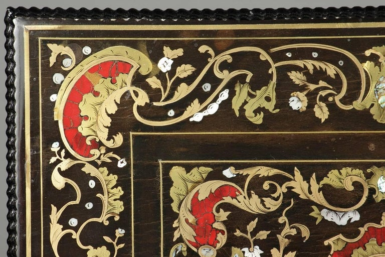 French Mid-19th Century Wooden Coffer Inlaid with Mother-of-Pearl For Sale