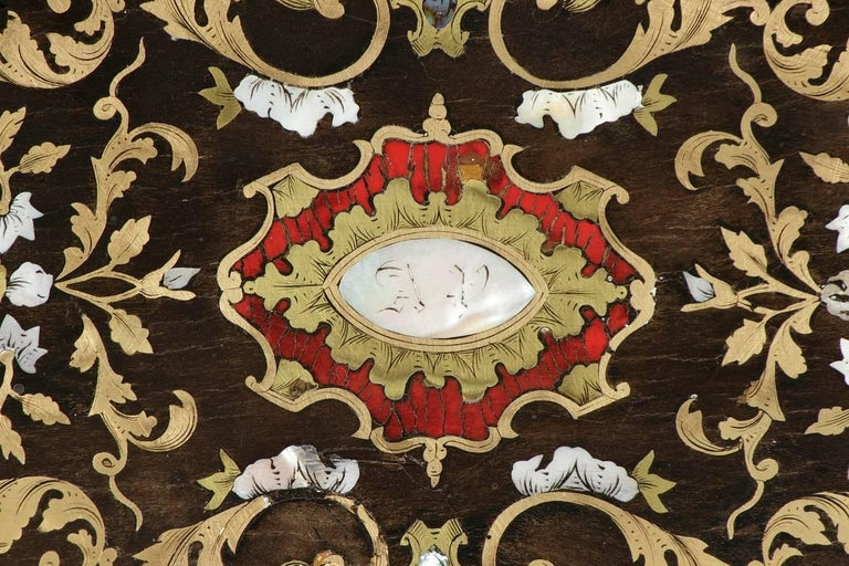 Mid-19th Century Wooden Coffer Inlaid with Mother-of-Pearl For Sale 2