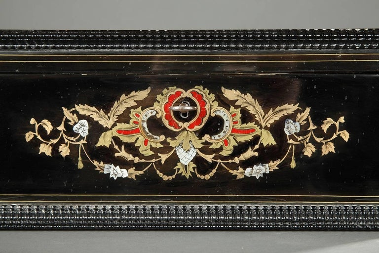 Mid-19th Century Wooden Coffer Inlaid with Mother-of-Pearl For Sale 3