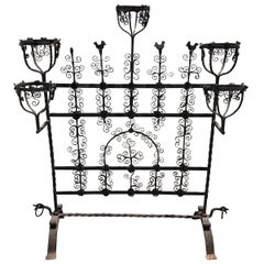 Mid-19th Century Wrought Iron Fire Screen with Scroll Work and Warmers