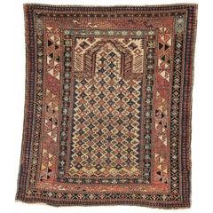 Mid-19th Century, Yellow Field, Wool Caucasian Marasali Prayer Rug