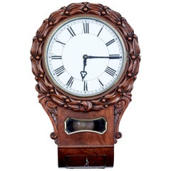 Mid-19th Century Victorian Carved Mahogany Fusee Wall Clock