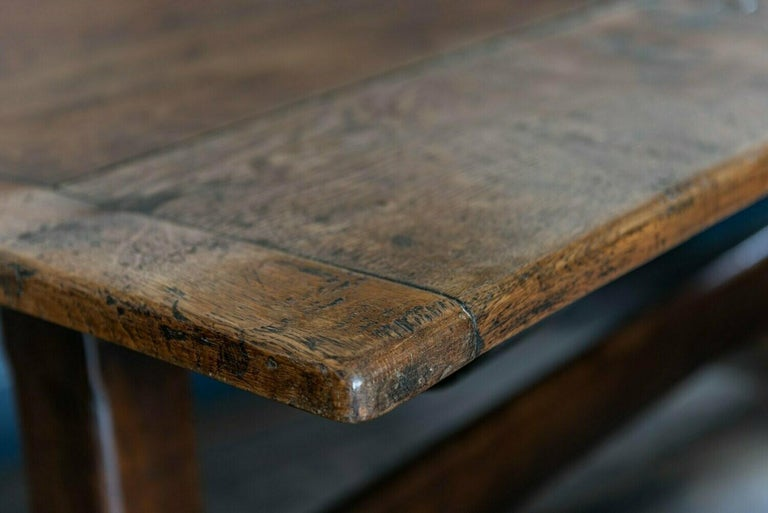 Mid-19th Century French 2 Plank Oak Trestle Table For Sale 8