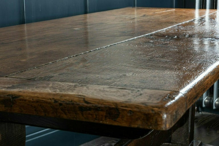 Mid-19th Century French 2 Plank Oak Trestle Table In Fair Condition For Sale In Harrogate, GB