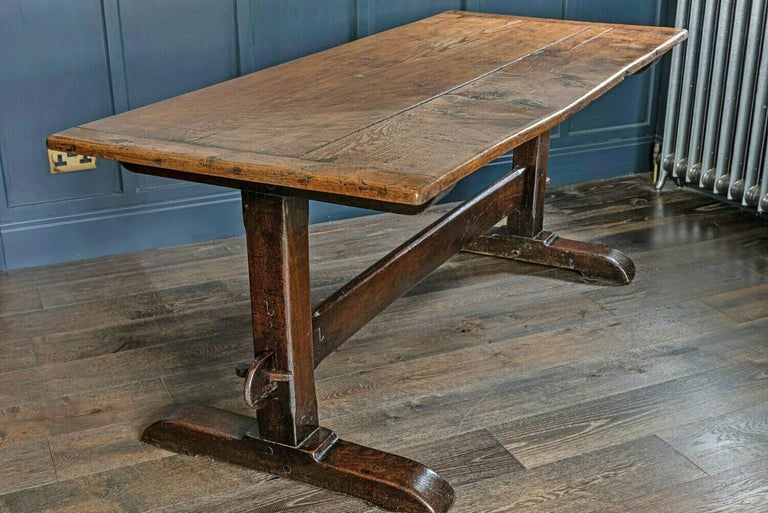 Mid-19th Century French 2 Plank Oak Trestle Table For Sale 1