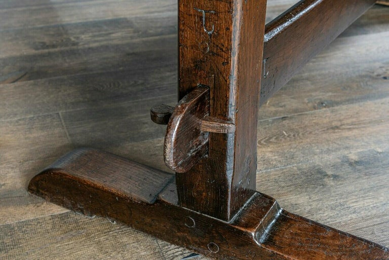 Mid-19th Century French 2 Plank Oak Trestle Table For Sale 2