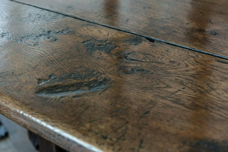 Mid-19th Century French 2 Plank Oak Trestle Table For Sale 4