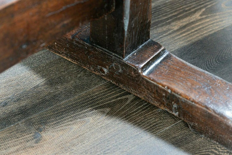 Mid-19th Century French 2 Plank Oak Trestle Table For Sale 5
