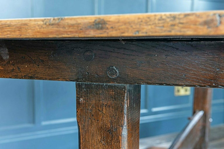 Mid-19th Century French 2 Plank Oak Trestle Table For Sale 6
