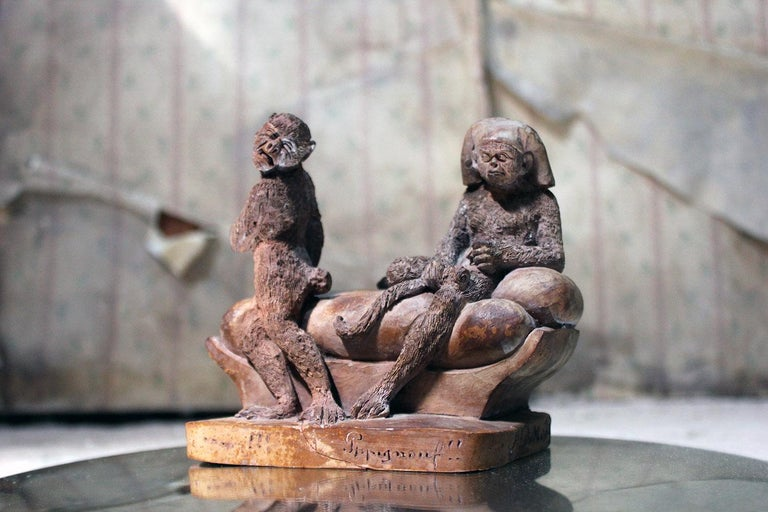 Mid-19th Century French Terracotta Comical Animalier Group of Two Monkeys For Sale 6