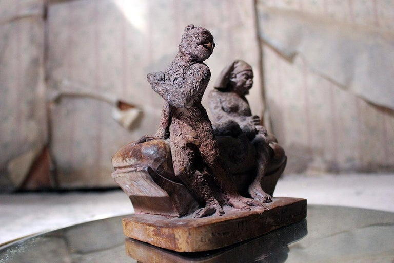 Mid-19th Century French Terracotta Comical Animalier Group of Two Monkeys For Sale 12