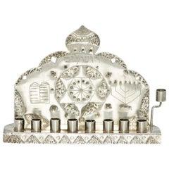 Mid-20th Century American Silver Hanukkah Lamp Menorah