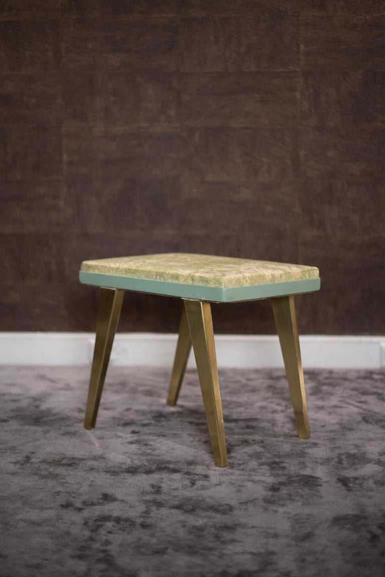 Mid-Century Modern  Rectangular Green and Gold Brass  Italian Pair of Stools For Sale