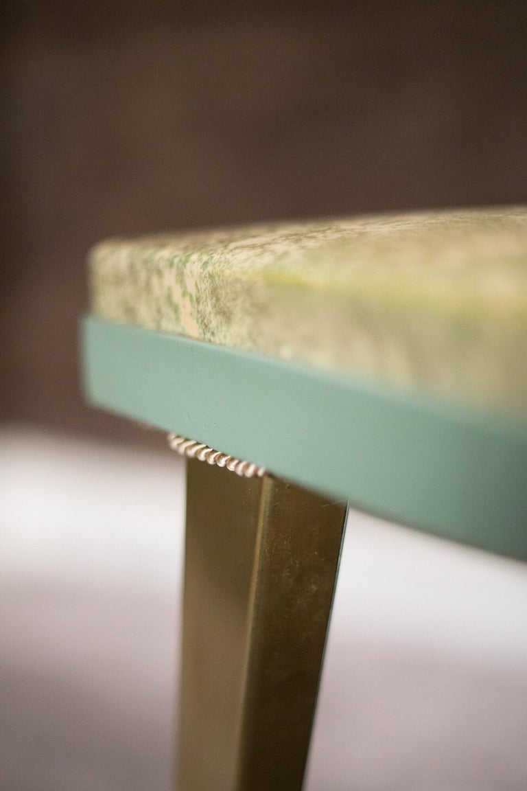 Gilt  Rectangular Green and Gold Brass  Italian Pair of Stools For Sale