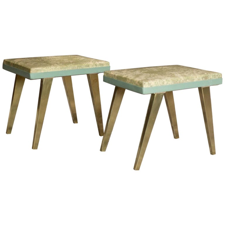 Rectangular Green and Gold Brass  Italian Pair of Stools For Sale