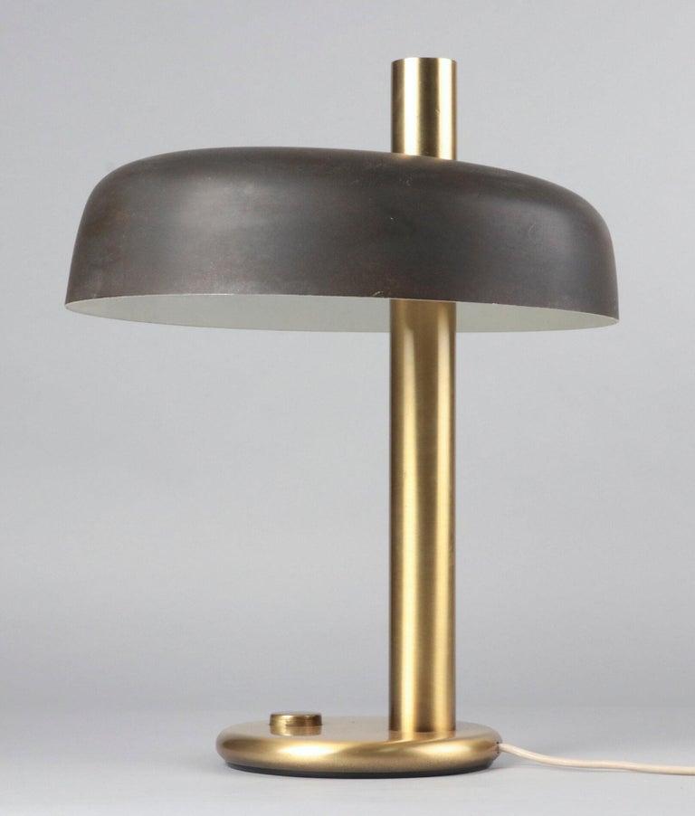 Beautiful mid-20th century modern lamp from the German brand Hillebrand. Matt dark brown aluminium shade.  Aluminium shade, brown finish. Inside two E27 sockets. Designer: Dr. Heinz Georg Pfaender (attributed). Manufacturer: