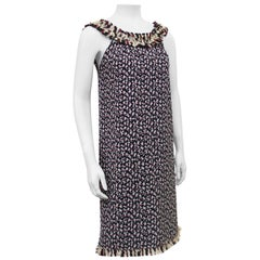 Mid 2000s Oscar de la Renta Navy and Red Abstract Houndstooth Dress Ensemble