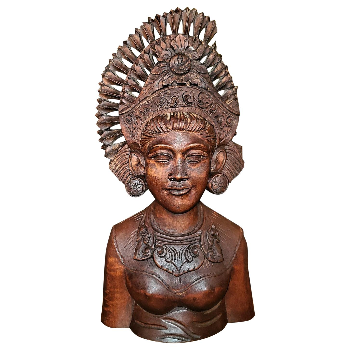 Mid-20th Century Balinese Carved Woman Bust