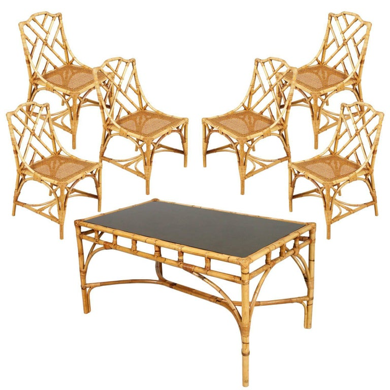 Mid-20th Century Six Rattan Bamboo Chinese Chippendale Style Chairs and Table