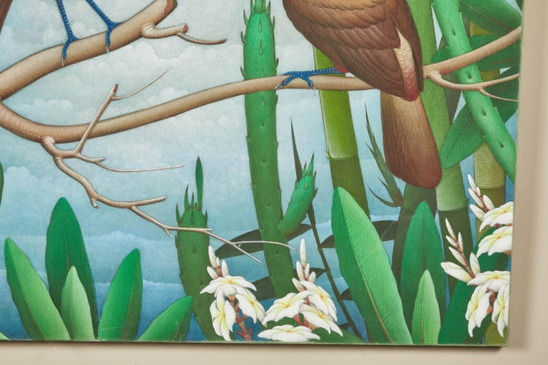 """Folk Art Mid-20th Century Balinese """"Birds of Paradise"""" Painting For Sale"""