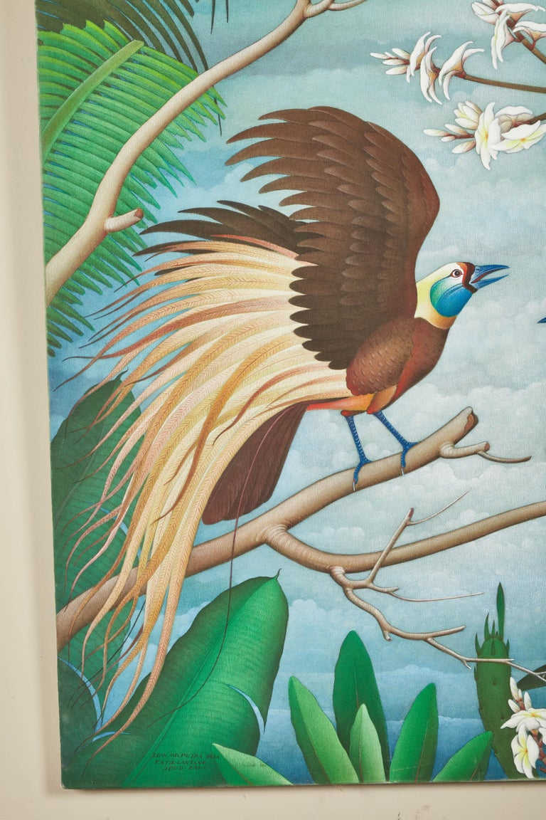 """Mid-20th Century Balinese """"Birds of Paradise"""" Painting In Good Condition For Sale In Pasadena, CA"""
