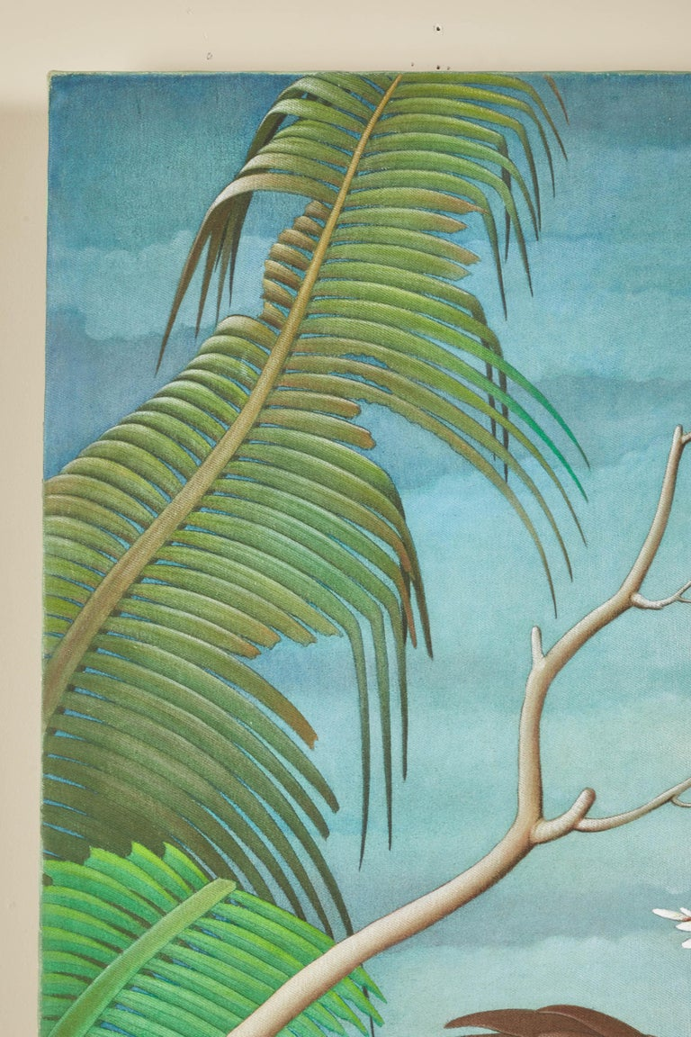 """Mid-20th Century Balinese """"Birds of Paradise"""" Painting For Sale 1"""