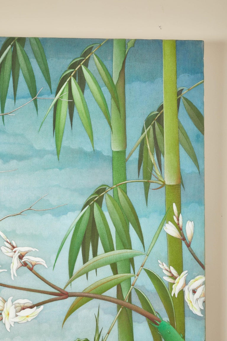 """Mid-20th Century Balinese """"Birds of Paradise"""" Painting For Sale 2"""