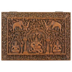 Mid 20th Century Balinese Indonesia Wood Carved Women Carved Box Bali