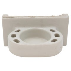 Mid-20th C Bath Cup & Tooth Brush Holder White Ceramic