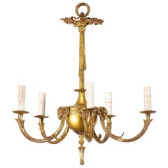 Mid-20th Century French Brass Five-Light Chandelier with Ram's Head Accents