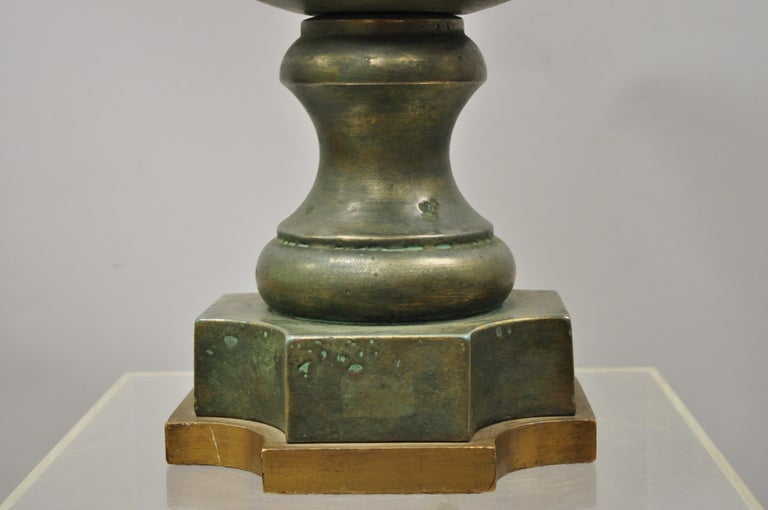 Large Oversize Marbro Italian Ceramic Pottery Leafy Scroll Table Lamp In Good Condition For Sale In Philadelphia, PA