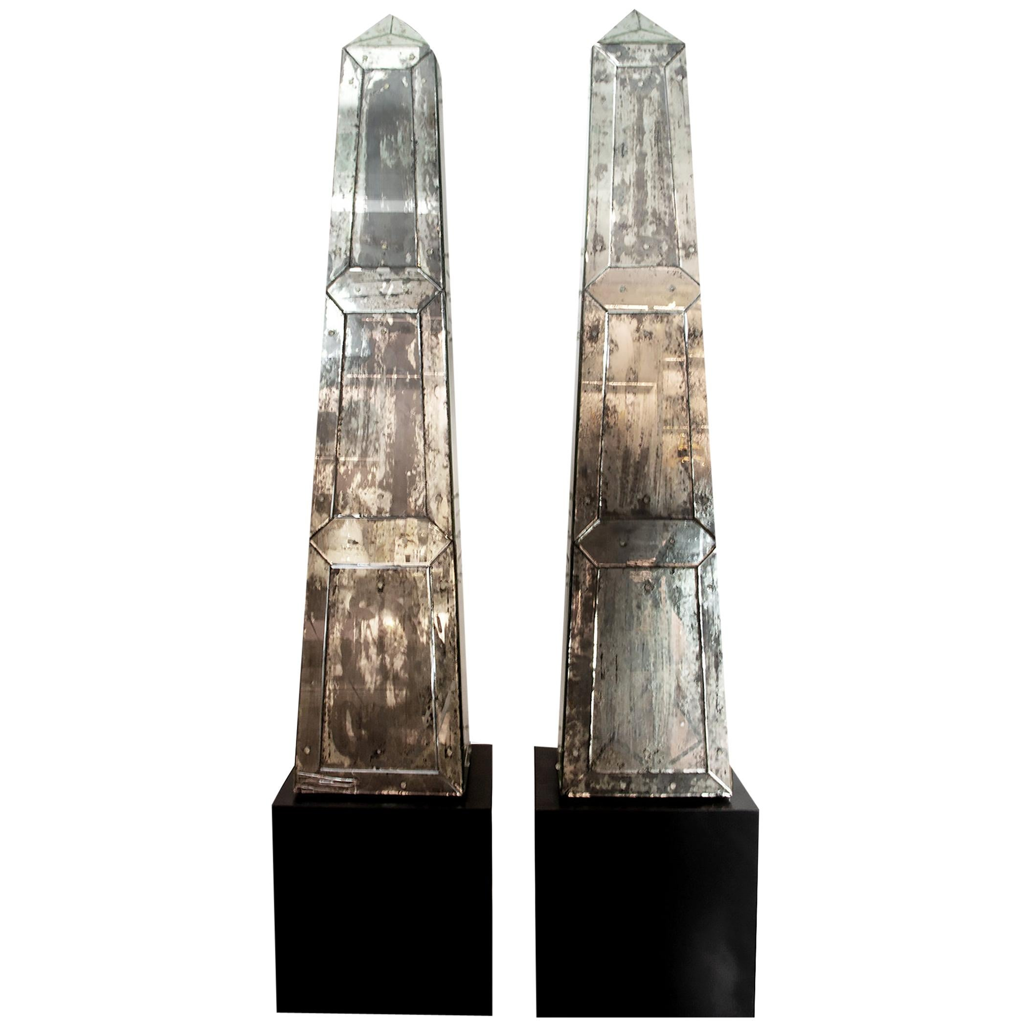 Mid-20th Century Pair of Monumental Continental Neoclassical Mirrored Obelisks