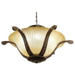 Mid-20th C. Semi Flush Mount Light with Tan Swirly Glass & Brass Hardware