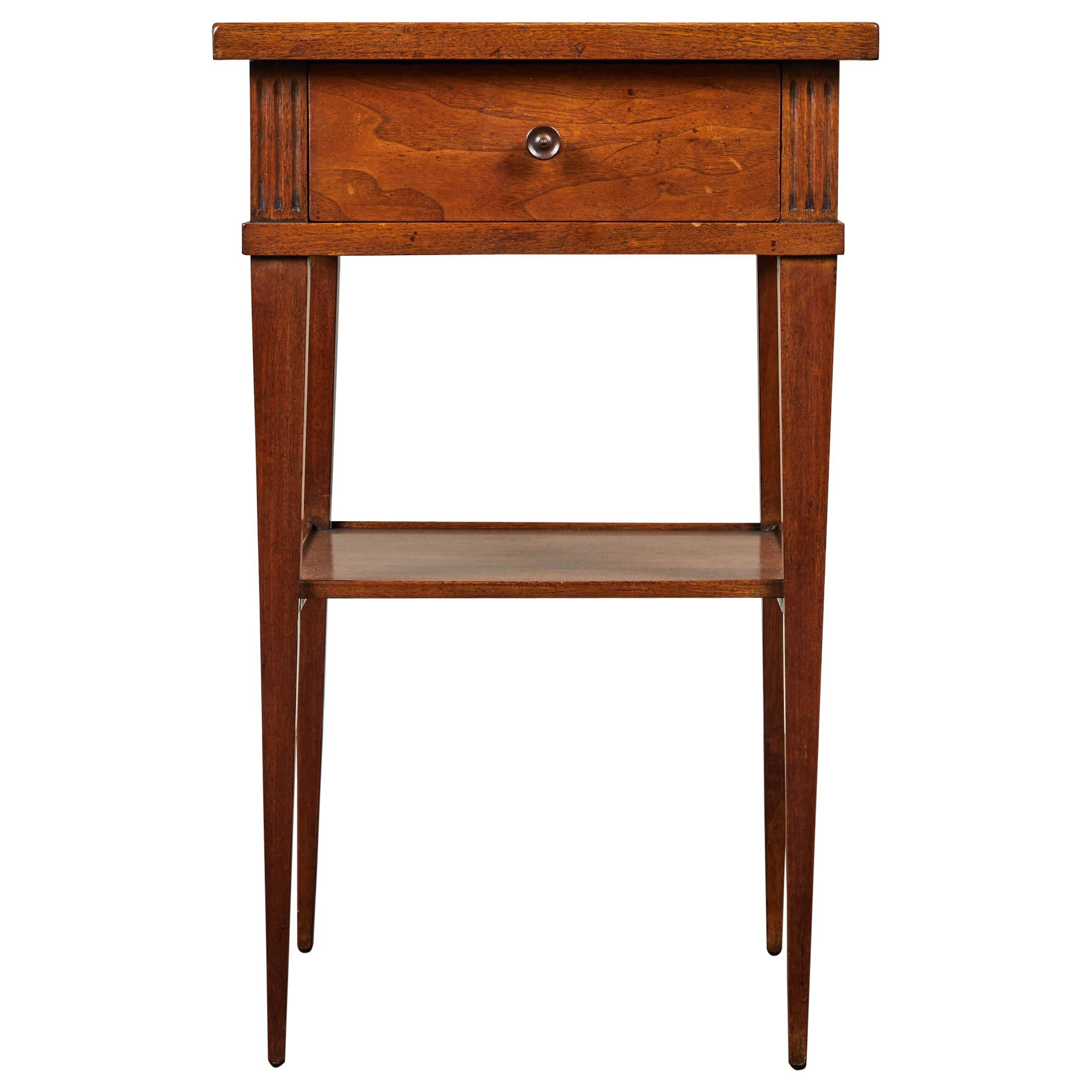 Mid-20th Century Small Walnut End Table with Single-Drawer