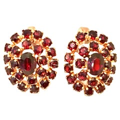 Mid-20th Century 12K Gold Plate & Authentic Rose Cut Garnet Pair Of Earrings