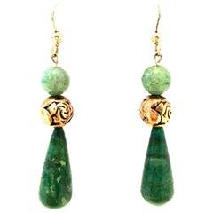 Mid-20th Century 14-K Gold & Jade Drop Earrings