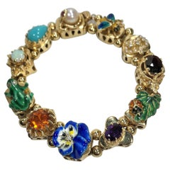 "Mid-20th Century 14k Gold ""Victorian Tribute"" Slide Bracelet"
