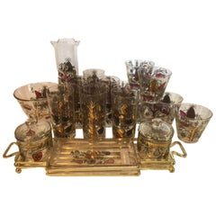Mid-20th Century 17-Piece Cocktail / Barware Set in 'Tree of Life' Pattern