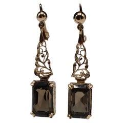 Mid-20th Century 18 Karat Gold and Smokey Quartz Dangle Drop Earrings
