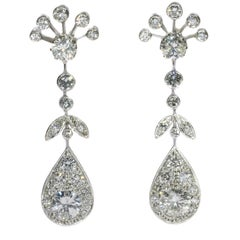Mid-20th Century 5.54 Carat Diamond Platinum Pear Drop Dangle Earrings, 1950s