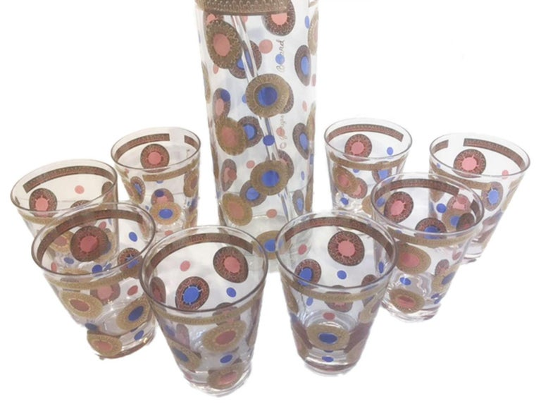 Enameled Mid 20th Century 9 Piece Cocktail / Martini Set, Signed Georges Briard For Sale