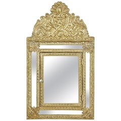 Mid-20th Century Aesthetic Movement Inspired Brass Hall Cushion Mirror