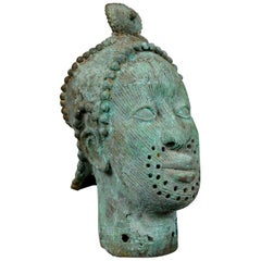Mid-20th Century African Bronze Bust, Head, Sculpture, Art