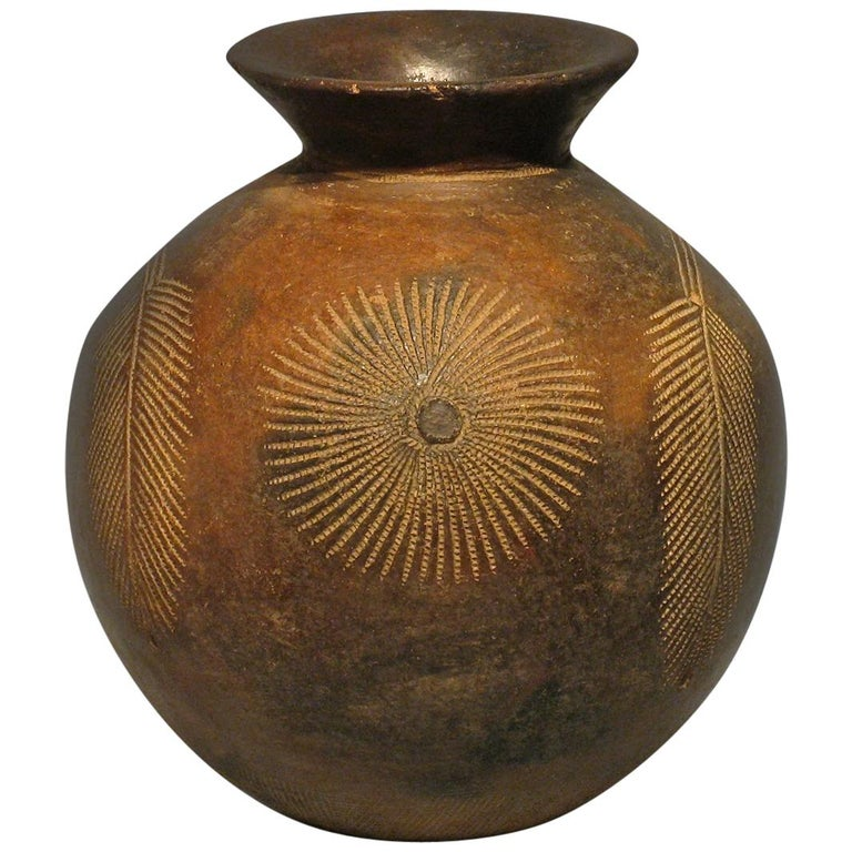 Mid-20th Century African Tribal Terracotta Ceramic Pot For Sale
