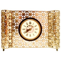 Mid-20th Century American Art Deco Gilt Brass Electrical Clock by, Bilt Rite