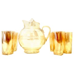 Mid-20th Century American Blown Glass Iridescent Peach Drinks Set of Six Pieces