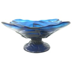 Mid-20th Century American Blown Glass Vivid Blue Footed Pedestal Dish