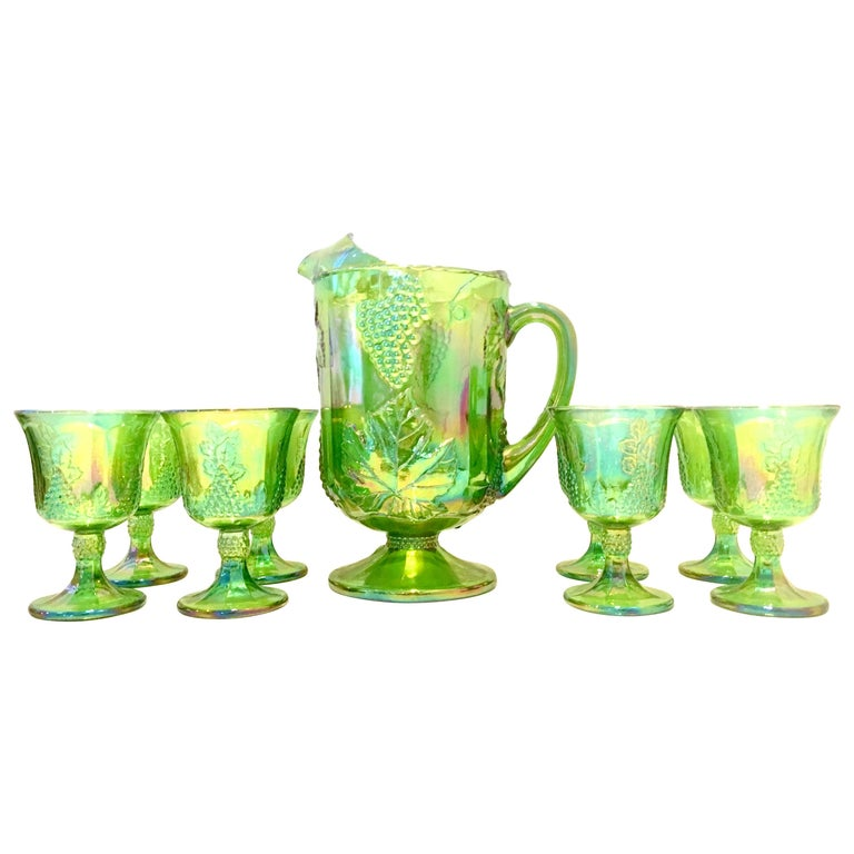 """Mid-20th Century American """"Carnival Glass"""" Drinks Set of 9 Pieces For Sale"""
