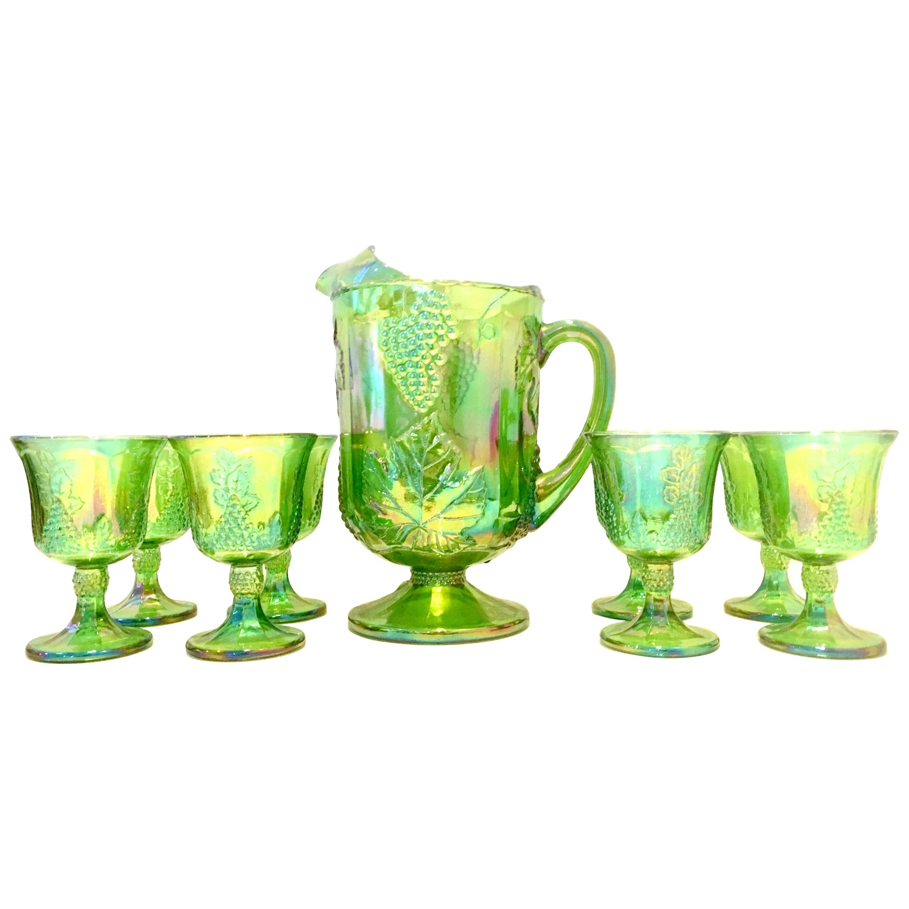 """Mid-20th Century American """"Carnival Glass"""" Drinks, Set of 9 Pieces"""